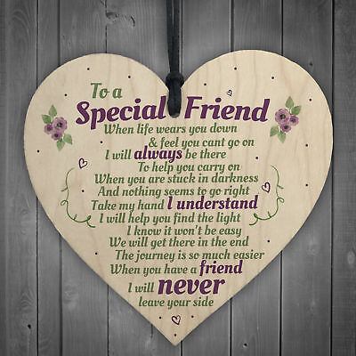 £3.99 • Buy Special Friend Friendship Plaque Shabby Chic Wood Heart Thank You Birthday Gifts