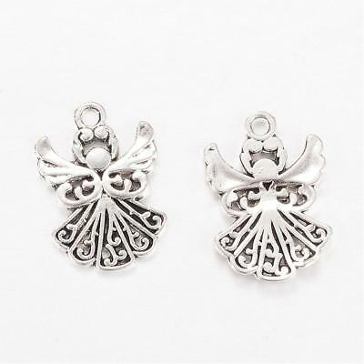 £2.99 • Buy 20 Angel Charms Antique Silver Tone Christmas Fairy 20mm X 14mm P00170H