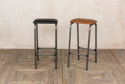 Ribbed Lab Stool Backless Bar Stool Faux Leather Breakfast Stool Black Or Tan • 68£