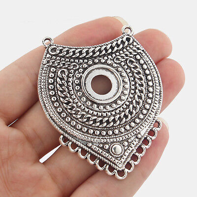 2Pcs Large Boho Chandelier Connector Charms Blank 14mm Round Cameo Setting Base • 3.29£