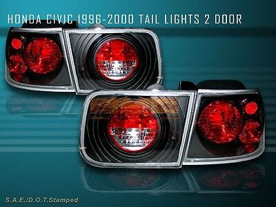 $68.99 • Buy Fit For 96-00 HONDA CIVIC TAIL LIGHTS JDM BLACK 2DR COUPE 97 98 99