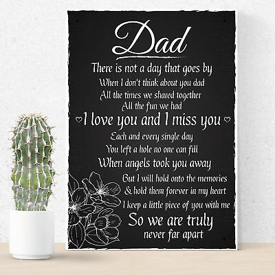 £6.99 • Buy Love Miss You Dad Memorial Grave Plaque Father's Day Daddy Gift Bereavement Sign