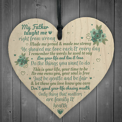 £3.99 • Buy My Father Fathers Day Dad Wood Heart Sign Memorial Plaque For Him Daughter Gift