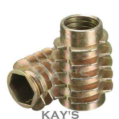 £2.82 • Buy Threaded Wood Inserts M4 M6 M8 Hex Screw Drive Fixing Nuts Type E (all Sizes)