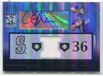 $12.99 • Buy 2010 Topps Tribute Autograph Relics Blue Cl3 Cliff Lee Jersey Auto 26/75