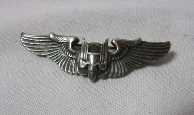 $75 • Buy WWII Military Pilot Sterling 2  Bomber Wings Pin     T*