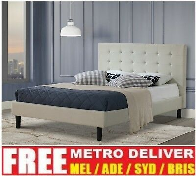 AU143.10 • Buy Alexis Wilt Single Double Queen King Grey Charcoal Beige Fabric Bed Frame Base