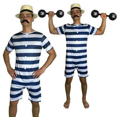 £12.99 • Buy 20s Bathing Suit Costume Old Time Mens Victorian Beach Swimsuit Fancy Dress