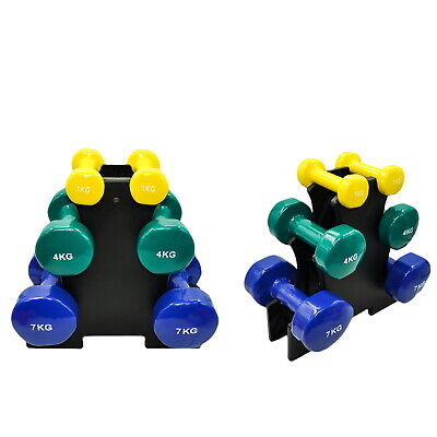 AU109.95 • Buy 3 Pairs PVC Dumbbell Set Weight - 1kg + 4kg + 7kg - Total 24kg With 1 Free Rack