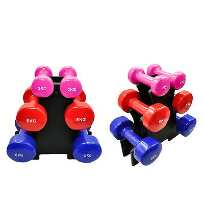 AU149.94 • Buy 3 Pairs PVC Dumbbell Set Weight - 2kg + 5kg + 8kg - Total 30kg With 1 Free Rack