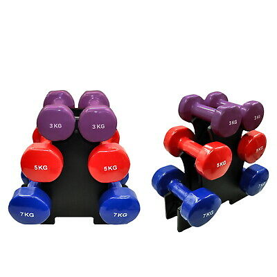 AU149.95 • Buy 3 Pairs PVC Dumbbell Set Weight - 3kg + 5kg + 7kg - Total 30kg With 1 Free Rack