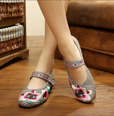 Retro Womens Chinese Embroidered Shoes Floral Oxfords Loafer Flat Strap Sandals • 8.98£