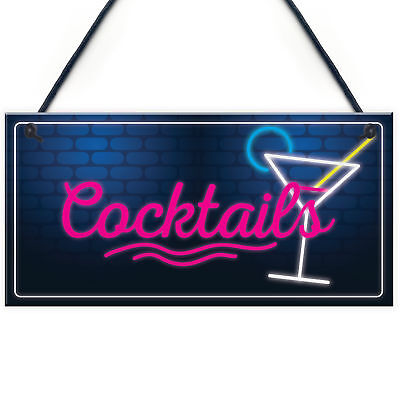 £3.99 • Buy Cocktail Neon Effect Hanging Plaque Home Bar Pub Sign Friendship Man Cave Sign