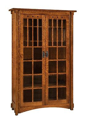 $2395 • Buy Amish Mission Arts And Crafts Bookcase Glass Doors Solid Wood Furniture 72