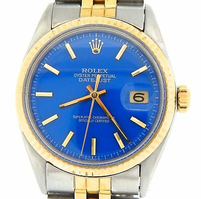 $ CDN5227.14 • Buy Rolex Datejust Mens Yellow Gold & Steel Watch Jubilee Style Band Blue Dial 1601