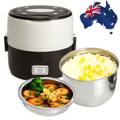 AU25.72 • Buy AU Portable Electric Lunch Box 2 Layer 1L Mini Steamer Pot Heating Rice Cooker