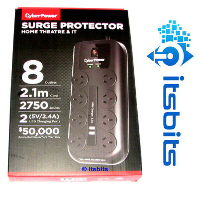 AU48.50 • Buy CYBERPOWER 8 WAY HIGH PROTECTION SURGE POWER BOARD + 2x USB 2.4A CHARGING PORTS