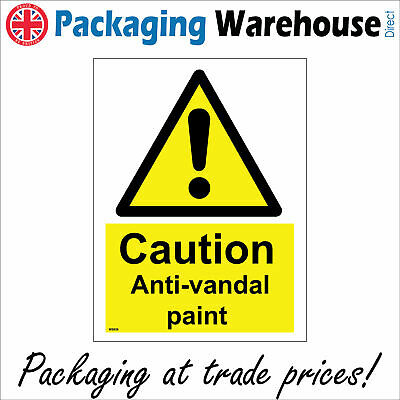 Ws626 Caution Anti-vandal Paint Sign Keep Out Intruders Climb Scale Access Area • 2.95£