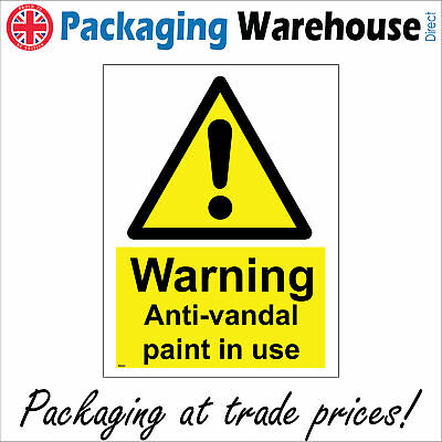 Ws624 Warning Anti-vandal Paint In Use Sign Slippery Caution Wet Walls Buildings • 7.95£