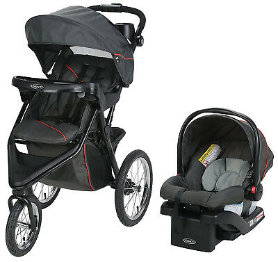 Graco Baby Trax Jogger Travel System Jogging Stroller W Infant Car Seat Evanston • 172.04£