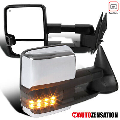 $143.99 • Buy For 2003-2007 Silverado Sierra Chrome Power Heated Tow Mirrors+Smoke LED Signal
