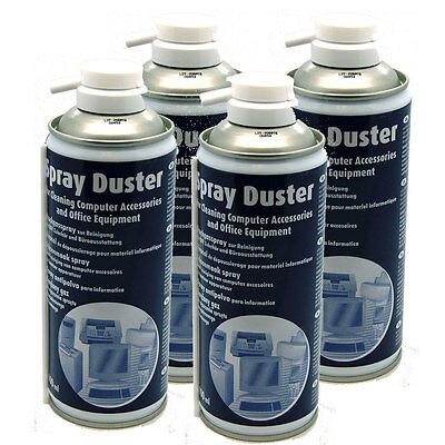 4 X Compressed AIR DUSTER CLEANER SPRAY CAN CANS CANNED German Made 400ml NEW • 12.99£