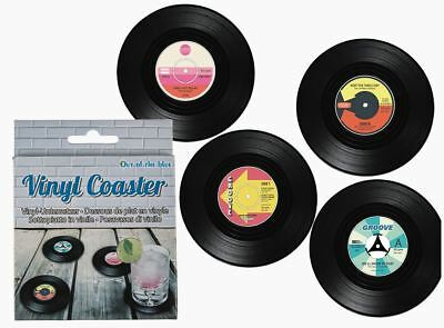 Novelty Retro Style Set Of 4 Vinyl Record Coasters Drink Mat In Gift Box • 6.95£