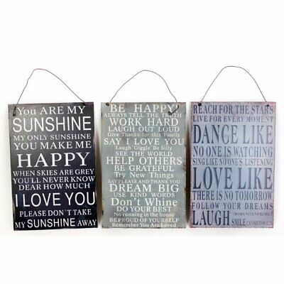 Shabby Chic Vintage Rustic Metal Sign Plaque Slogan Happy Sunshine Star Kitchen • 7.78£