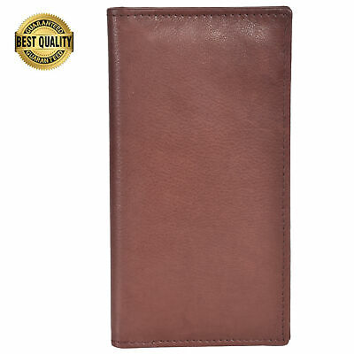$8.99 • Buy Leatherboss Genuine Leather PLAIN RFID Checkbook Cover With ID Slot, Dark Brown