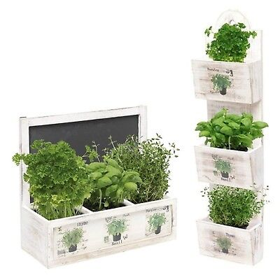 Herb Wooden Shabby Chic Seeds Planter Window Box Garden Plant Pot Indoor Gift  • 10.99£
