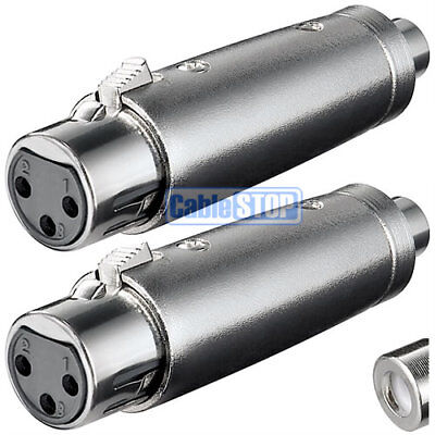 £4.85 • Buy Pack Of 2 - XLR 3 Pin Female Socket To RCA Phono Socket Connector Audio Adapter
