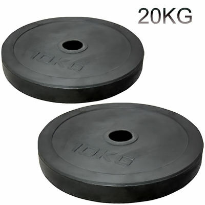 $ CDN141.02 • Buy 2  Olympic Rubber Coated Plates 20kg Weight Lifting Bar 5cm Disc Pair Gym