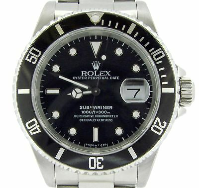 $ CDN10362.98 • Buy Mens Rolex Submariner Stainless Steel Watch Black Dial & Bezel Date Sub 16610
