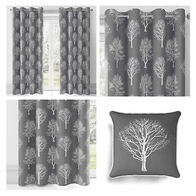 Grey Eyelet Curtains Woodland Trees Ready Made Lined Ring Top Curtain Pairs • 44.60£