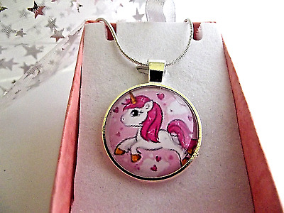 £4.99 • Buy UNICORN HORSE PONY PENDENT SILVER NECKLACE 22 INCH 7 Up Years GIFT BOX BIRTHDAY