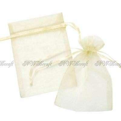 £3.49 • Buy Cream Organza Gift Favour Bags Wedding Jewellery Drawstring Pouches