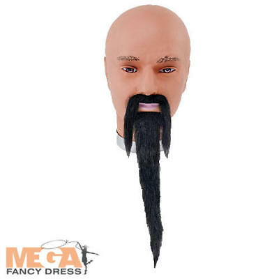 Black Wizard Beard & Tash Fancy Dress Halloween Book Chinese Man Costume Access • 4.99£