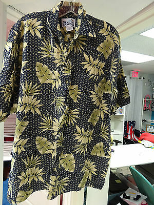 $99.99 • Buy Mens Sun Casuals Shirt Size Large Blue Olive Tan Button Front Short Sleeve Rayon