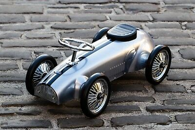 £99 • Buy Silver Ride On Vintage Toy Metal Child's Push Along Car, A Kids Modern Classic!