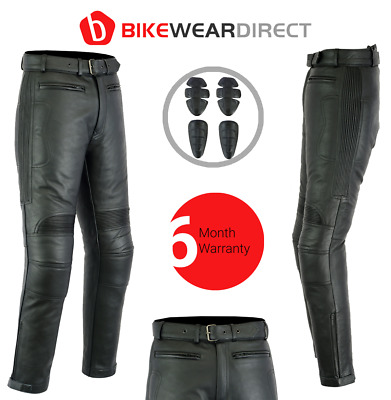 £79.99 • Buy Leather Motorbike Motorcycle Trousers Biker Touring With CE Armour Protection