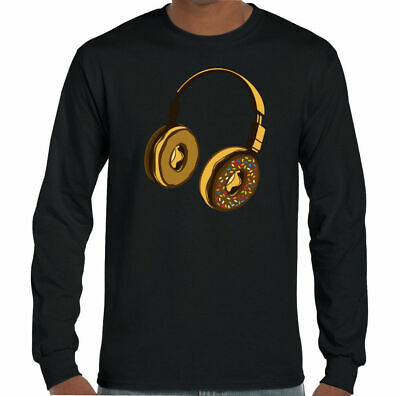 Donut Headphones T-Shirt Vinyl Record Mens Funny DJ Unisex Tee Top DJing Decks • 11.99£