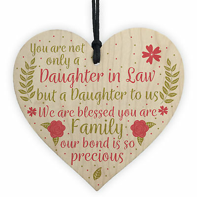 £3.99 • Buy Daughter In Law Plaque Sayings Wooden Heart Birthday Wedding Christmas Gifts