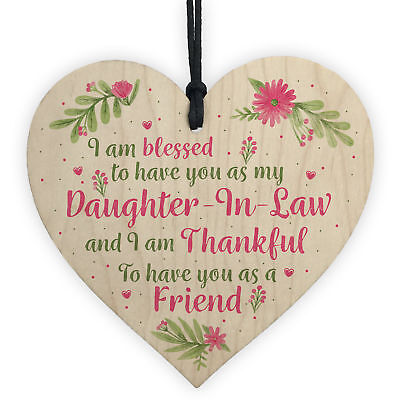 Daughter In Law Plaques Wooden Heart Birthday Card Wedding Xmas GIFTS For Her • 3.99£