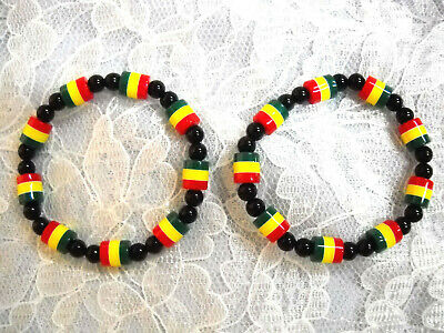$6.99 • Buy New Set Of 2 Rasta Red Yellow Green Tube & Black Round Beaded Stretch Bracelet