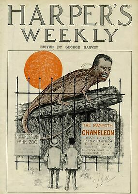 $95 • Buy Theodore Roosevelt As A Chameleon Atop His Big Stick Caged Progressive Park Zoo