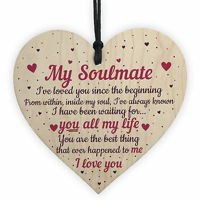 Soulmate Gifts Heart Plaque Anniversary Birthday I Love You Gift For Him For Her • 3.99£