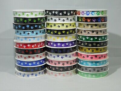 £2.05 • Buy 2 Metres Or Full Roll 3mm 7mm 15mm 25mm Paw Print Satin Double Ribbon Dog Pet
