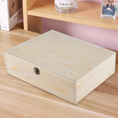 Unpainted Natural Wooden Box A4 Size Memory Box Magazine Documents Storage Case • 11.49£