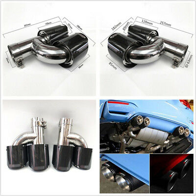 $ CDN168.97 • Buy H Type Glossy Genuine Real Carbon Fiber Car Trucks Left+Right Exhaust Dual Pipe