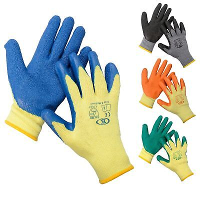 £13 • Buy 12 Pairs Of Builders Protective Gardening DIY Latex Rubber Coated Work Gloves